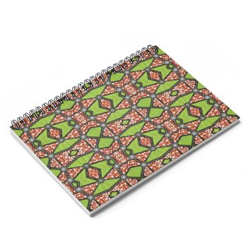 Green Ankara Print Spiral Notebook - Ruled Line