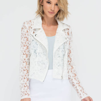 Study In Contrasts Floral Moto Jacket