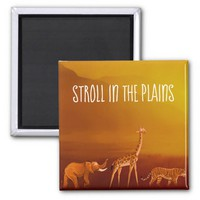 Stroll in the Plains Animals Square Magnet