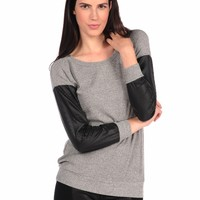 Vintage Havana Textured Leather Sleeve Top