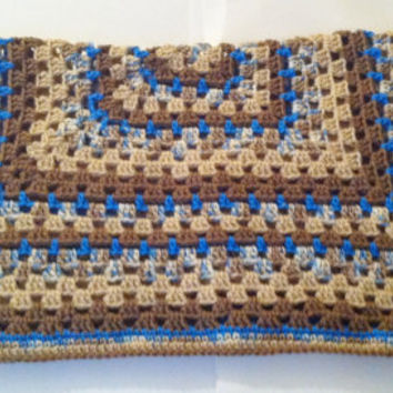 Crochet Baby Blanket - Granny Square Blanket - Baby Boy Afghan - Blue and Brown Blanket - Free Shipping