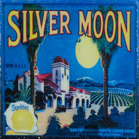 Silver Moon - Vintage Citrus Crate Label - Handmade Recycled Tile Coaster