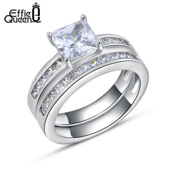 Effie Queen Woman Finger Ring Platinum Plated with 0.8 ct Princess Cut Cubic Zirconia Women Wedding Ring Set 2 Piece Set DR28