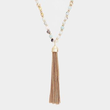 Chain Tassel Semi Precious Ball Bead Long Necklace