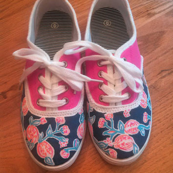 "Hand Painted Lilly Pulitzer Inspired Laced Sneakers ""Pom Poms"""