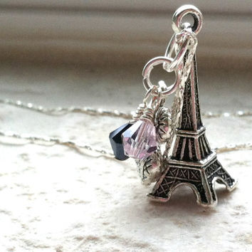 Paris Charm Necklace - Eiffel Tower Necklace, French Necklace, High Fashion, Perfume Bottle Charm, Pink Black Swarovski Crystal Necklace