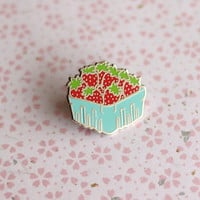 Strawberry Basket Enamel Pin