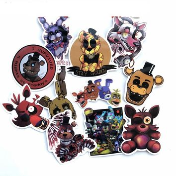 11Pcs/Lot Anime  At Freddy  Foxy Stickers For Luggage Bag Car Laptop Skateboard Bicycle Phone Waterproof Decal