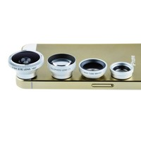 VicTsing® Magnetic Detachable Fish-Eye Lens Wide Angle Micro Lens Telephoto Lens 4-in-1 Kits Silver for iPhone 5 5C 5S 4S Samsung Galaxy S4 S3 and Smartphones with Flat Camera