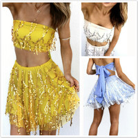 Strapless Crop Top Short Skirt Melon Seeds Sequin Dress Set