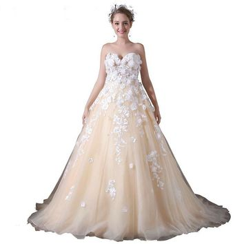 3D Flower Appliques Wedding Dress Champagne Tulle Bridal Gown Pearl Beaded Sexy Sweetheart Wedding Dress