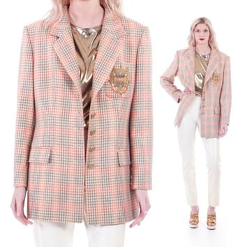 80s Vintage ESCADA Metallic Plaid Blazer Jacket Crest Preppy Hipster Chic Designer Clothing Womens Size Large XL