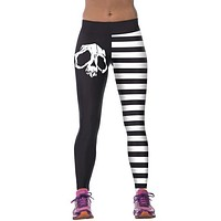 NEW Sexy 3D Skull Black/White/Stripes Leggings