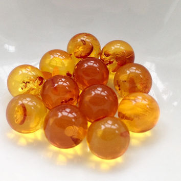 "3 Amber 10mm spheres, about 1/2"", undrilled, round ball, cage jewelry, wire wrapping, jewelry supply, butterscotch color ~ NO HOLE"