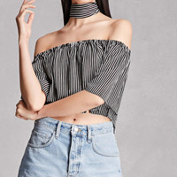 Choker Neck Striped Blouse