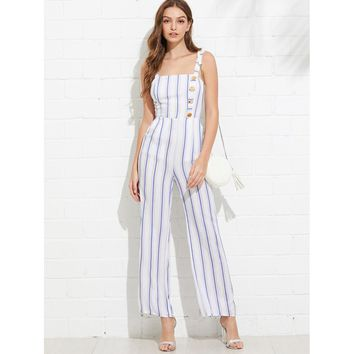 Thick Strap Knot Open Back Striped Jumpsuit