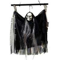 Voice Activated Hanging Skull Skeleton Ghost with Glowing Red Eyes and Sound Effects Halloween Decoration Props For Party Bar