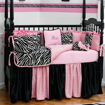 Black and White Zebra 3-Piece Crib Bedding Set