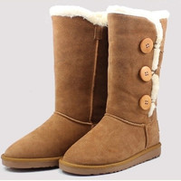2016 New Women lady girl australia high genuine Leather Snow warm winter not Ugglis triply button Boots Shoes motorcycle boots [8400785927]