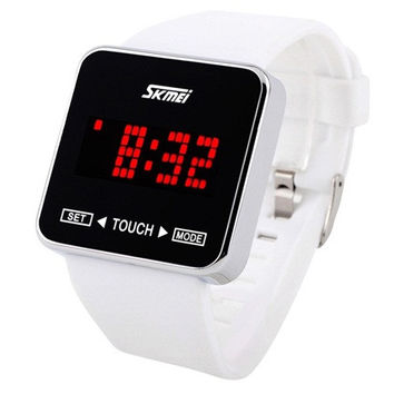 SKMEI 0950 3ATM Water Resistant LED Digital Display Silicone Band Sport Electronic Wrist Watch with Animation Character Set (White)