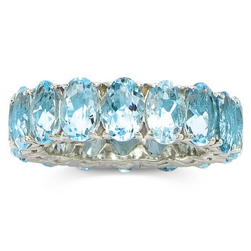 Sterling Silver Genuine Gemstone Blue Topaz Eternity Band Ring