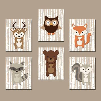 WOODLAND Nursery Decor, Woodland Wall Art Canvas or Prints Birch Wood Forest Animals, Woodland Bedroom Decor, Set of 6 Pictures Wall Decor