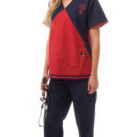 Women's Embroidered Cute Cat Lovers Uniform Scrubs