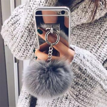 Luxury Metal Mirror For Iphone Cover Rabbit Fur Ball Case  For Coque IPhone 6 6S 7 Plus Case Coque Cover Shell For Capa Iphone 6