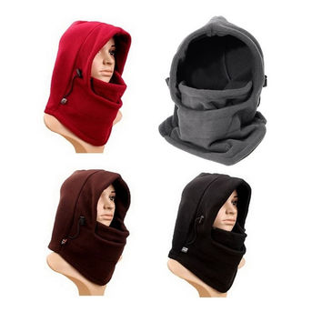 Winter Prevent Ski Thermal Fleece Neck Warm Full Face Mask Hood Cap Hat Riding Headgear = 1705559236
