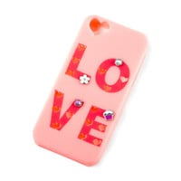 Pink Rubber Love and Cut Out Heart Cover for iPhone 5, 5s and 5c with Customizable Charms