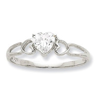 10k White Gold Genuine White Topaz Heart April Birthstone Ring