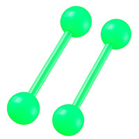 Essentials Tongue Ring [Gauge: 14G - 1.6mm / Length: 18mm / Ball Size: 6mm] Acrylic (Green) // Set of 2