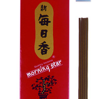 Traditional Japanese Sandalwood Incense - 200 Sticks & Holder - Morning Star by Nippon Kodo
