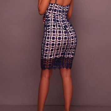 Dark Blue Lace Zipper Backless Spaghetti Strap Bodycon Homecoming Mini Dress