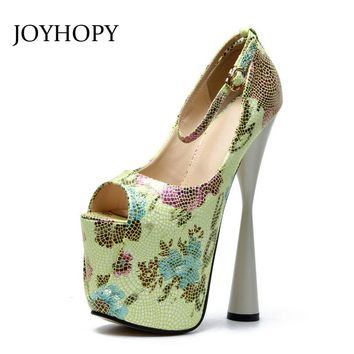 JOYHOPY 2018 New Peep Toe High Heels Women Printing 19cm Thick Heel Platform Shoes Big Size 34- 43 Sexy Ankle Strap Pumps Woman