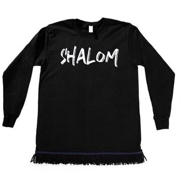 Shalom Men's Long Sleeve T-shirt With Fringes