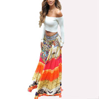 ZANZEA Women 2016 Fashion Bohemian Casual Loose Printed Long Maxi Skirt Ladies Vintage Big Swing Floor Length Beach Skirts