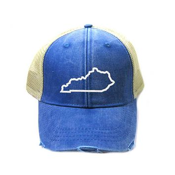 Kentucky Hat - Distressed Snapback Trucker Hat - Kentucky State Outline - Many Colors Available