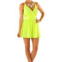 When The Sun Comes Up Romper: Neon Yellow | Hope's