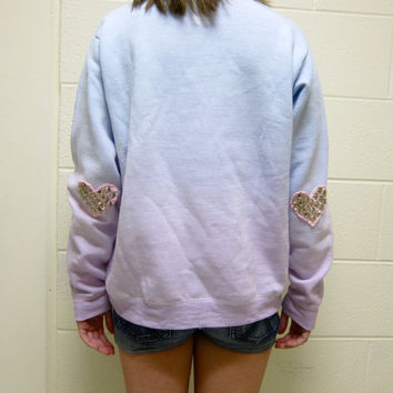 VASILVER Studded Heart Elbow Patch Ombre Dip-Dyed Pastel Blue and Purple Light Fleece Sweatshirt Valentine's Day