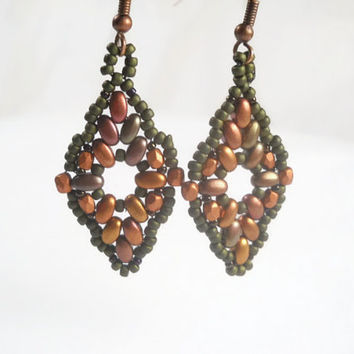 Beaded Earrings Bronze Diamond Shaped Beaded Earrings