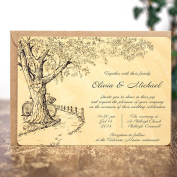 Wood Wedding Invitations, Rustic Wedding Invitations, Wood Invitations, Custom Wedding Invitations, Unique Invitations, Rustic Invitations