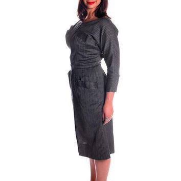 Vintage Charcoal Gray Silk/ Wool Blend Day Dress 1950s 40-31-44 Fitted
