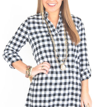 White and Black Buffalo Plaid Shirt Dress with High-Low Hem