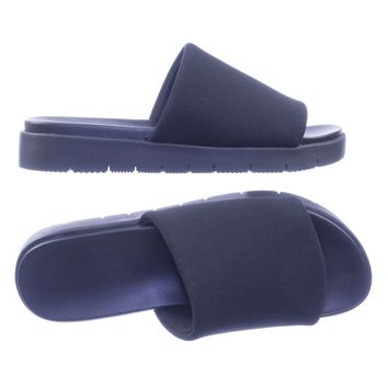 Control Rubber Molded Footbed Flatform Pool Slides Threaded Outsole Elastic Band
