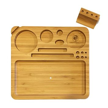 """Bamboo Rolling Tray w/ Magnetized Rolling Jig (8.5"""" x 8"""")"""