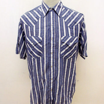 Retro Plains Blue White Striped Rockabilly Shirt M