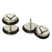 Heart Love Faux Plug Earrings