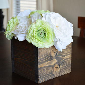 Wood Box, Wedding Centerpiece, Table Decor, Table Centerpiece, Rustic Decor, Wedding Table Decoration, Rustic Wood Box, Wooden Box in Walnut
