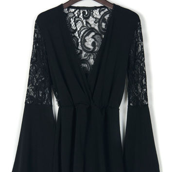 Black Plunge Neck Flare Sleeve Mesh Lace Detail Romper Playsuit